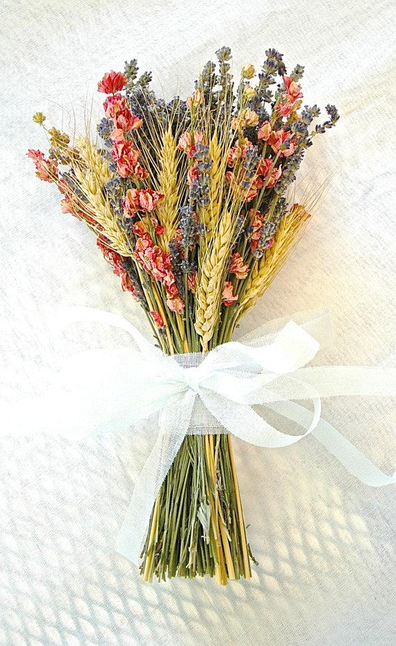 Mariage - Golden Summer Fall Wedding  Bridesmaid Bouquet of Lavender Coral Peach Larkspur and Wheat