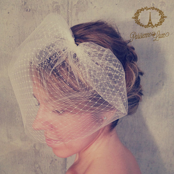 "Свадьба - Bridal Veil, Bridal Birdcage Veil Double Layer, Blusher Veil,Wedding Veil, Bride Veil, Bridal Headpiece Tulle,Russian Netting Veil, ""LOUISE"""