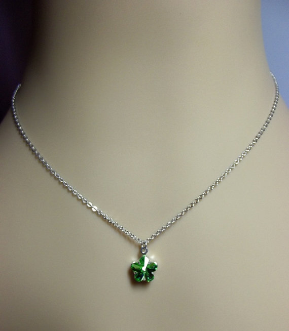 زفاف - Swarovski Peridot Green Rose Crystal Silver Necklace, Mom Sister Grandmother Bridesmaid Jewelry Gift, Wedding, Cocktail, Simple, Flower