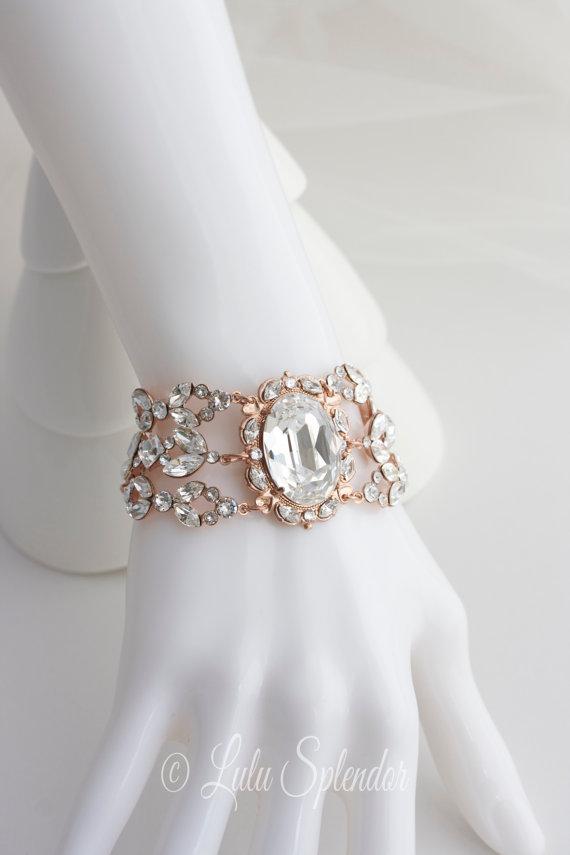 Rose Gold Crystal Bracelet Statement Bridal Cuff Wedding Swarovski Jewelry Ryan Del Bl