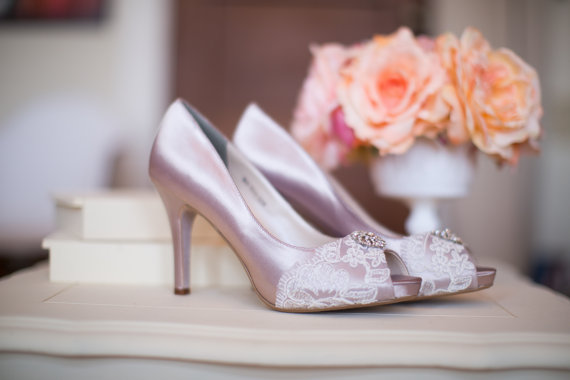 Wedding - Wedding shoes peep toe platform high heels bridal shoes embellished with floral ivory French lace and crystal brooch