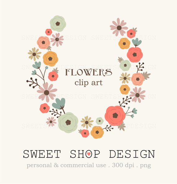 50% OFF SALE Flowers Clipart, Wedding Clipart, Royalty Free