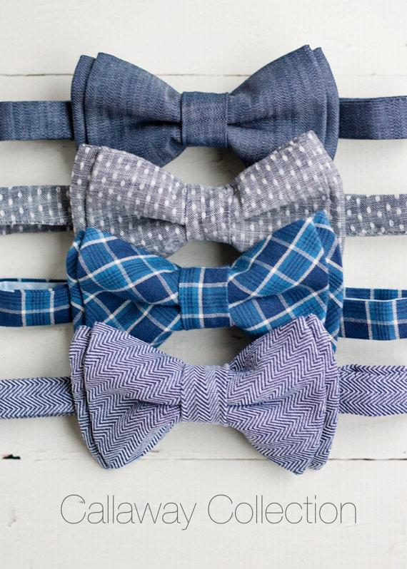 Свадьба - The Beau- Callaway Collection- boy's chambray double stacked pre-tied bow ties - adjustable strap or clip selection