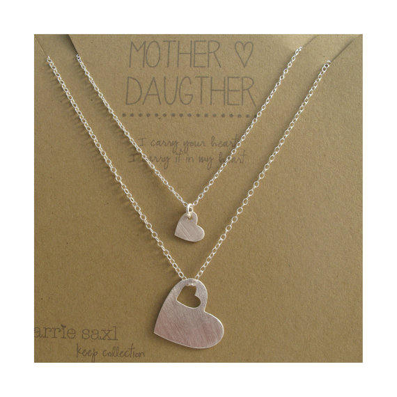 Mariage - Mother Daughter Necklace Set - necklace gift - mom necklace - mother's day - mother daughter jewelry - jewelry gift - wedding - silver