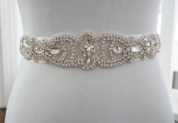 زفاف - Wedding Belt, Bridal Belt, Sash Belt, Crystal Rhinestone Belt, Style 130