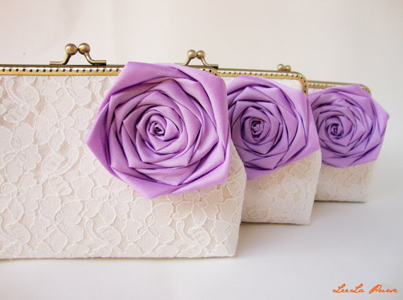 Mariage - Lavender Weddings / Personalize your Bridesmaid Gifts with Set of 3 Lace Clutches and Purple Silk Roses