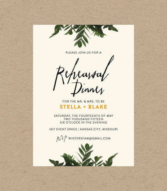 botanical rehearsal dinner invitation 10 5x7 printed sets