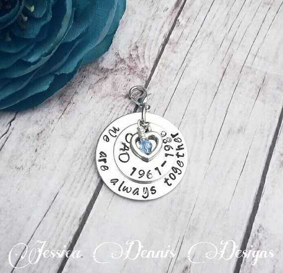 Mariage - Wedding Bouquet Charm * Grandparents * Parents * Double Stacked * Swarovski Crystal * Personalized * Bridal Charm * Hooks onto Bouquet