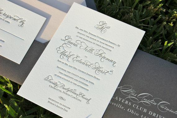 blush and charcoal wedding invitations letterpress wedding invites