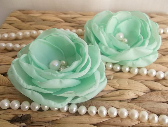 Mariage - Mint fabric flowers in handmade, Bridal Bridesmaids hair shoe clip, dress sash accessory Flower brooch, Flower girls gift Romantic Weddings