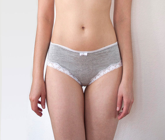 Mariage - Gray and White Lace Girly Panties with White Hearts Trim. Women's Lingerie