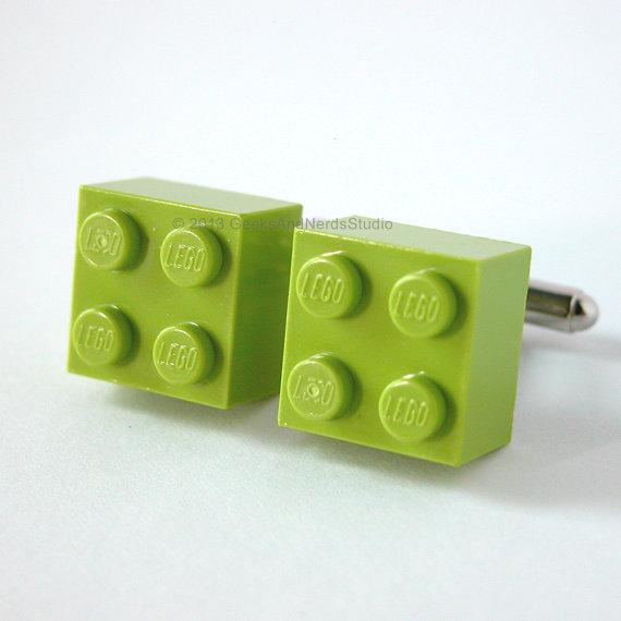 Hochzeit - Groomsmen Gift - Made with LEGO bricks - Lime Green Brick Cufflinks - Mens Cufflinks - Gift for HIm - Best Man Gift - Dad