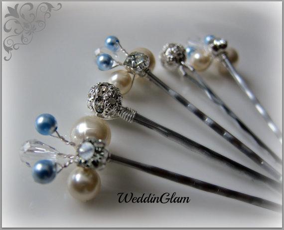 Свадьба - Something Blue Hair Pin, Wedding Hair Accessories, Silver wired vines, Swarovski Ivory White Blue pearls. Bridesmaid hair do, Set of 5 pins