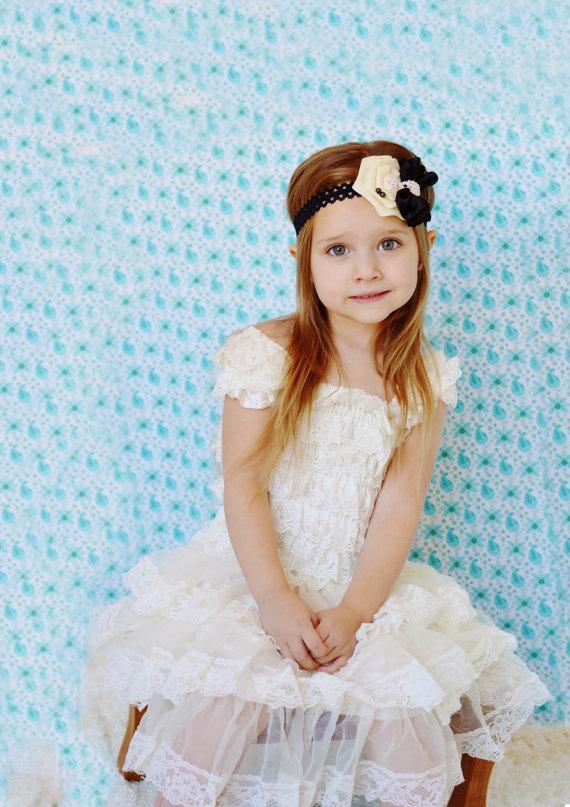 Ivory Lace Baby Dress With Black Headband,ivory Black Flower Girl ...