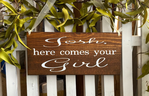 Свадьба - Here comes your Girl Rustic sign Ring bearer sign Flower girl sign Custom Grooms name