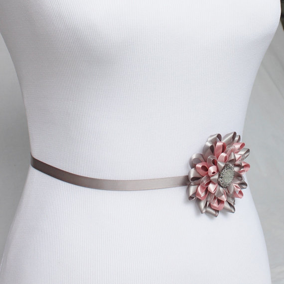 زفاف - Pink and Gray Dress Sash, Pink and Gray Flowers, Pink Flower Sash Belt, PInk and Gray Wedding, Pink Bridesmaid Dress Sash, Pink Dress Sash