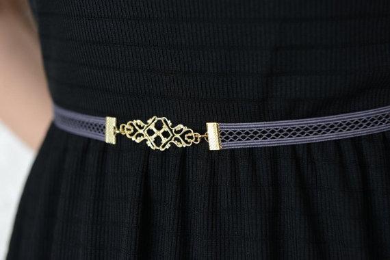 Свадьба - Bridesmaids Belt -  Bridesmaid Accessories - Gray Belt - Waist Belt - Gold Belt - Wedding Accessories - Evening Dress Belt