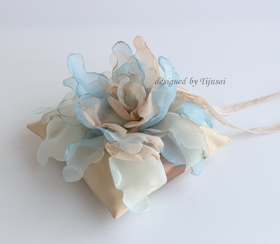 "Wedding - Wedding ring pillow 5.5""x5.5""  with curly flower mix of blue and beige---wedding rings pillow , wedding pillow, rings cushion"