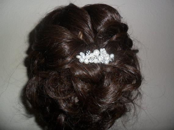 Mariage - bridal hair comb, wedding accessory, bridal accessory, rhinestone hair comb, pearl hair comb, bridal headpiece, bridal hairpiece, hair comb
