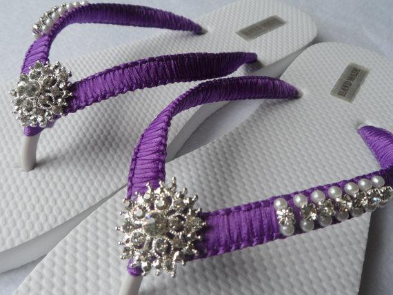 Purple Wedding Flip Flops / Bridal Pearls Sandals / Purple Color ...