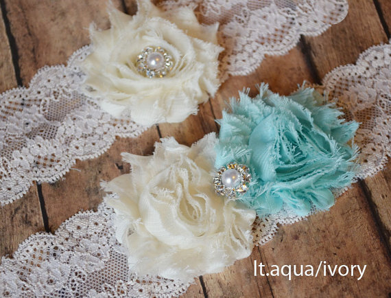Свадьба - Choose Any 25 COLORS - Wedding AQUA BLUE garter set - wedding garter something blue garter - vintage style wedding decor - rustic wedding