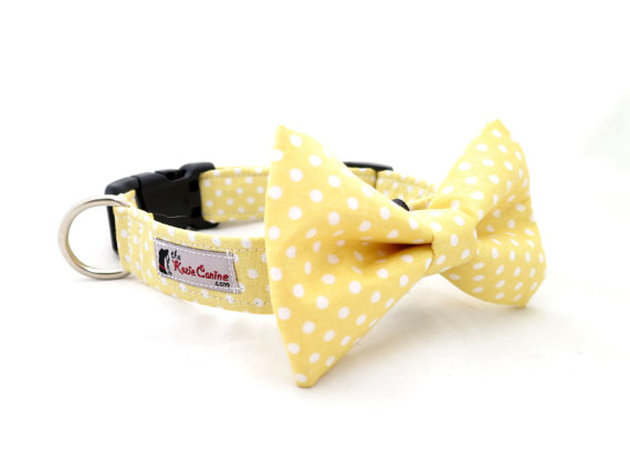 Свадьба - Yellow Polka Dot Dog Collar (Dog Collar Only - Matching Bow Tie Available Separately)