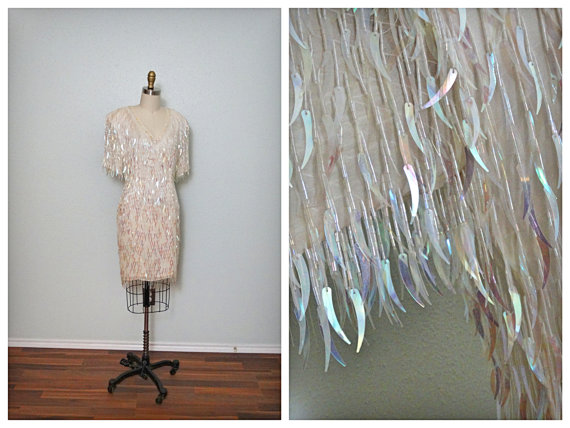 Mariage - IRIDESCENT Fringe Beaded Sequin Dress // Glam Cream Pearl Wedding // Heavily Sequinned Beaded Dress