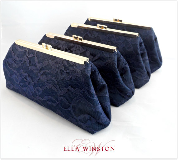 Свадьба - Wedding Party Gifts SALE! 5% OFF Set Of 4 Navy Blue And Champagne Bridesmaid Gifts Bridal Clutch, Wedding Clutch Mother Of The Bride Gift