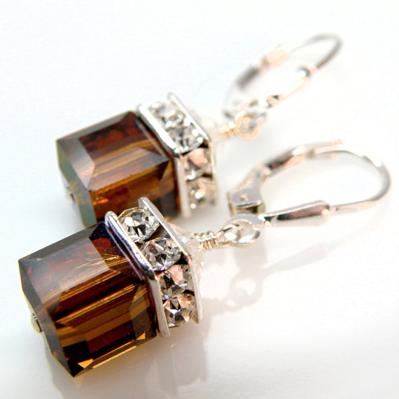 Chocolate Earrings Brown Swarovski Crystal Cube Sterling Silver Drop Bridal Fall Wedding Jewelry Autumn Bridesmaids