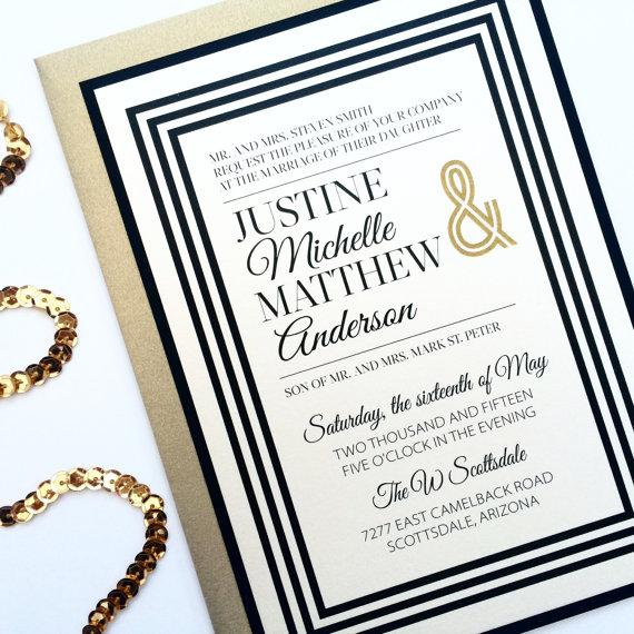 suit and tie wedding invitations art deco ivory gold and black