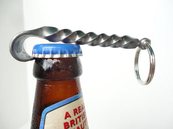 Hochzeit - Bottle Opener Keychain -- hand forged by blacksmith -- great gifts for Groomsmen, Usher gift