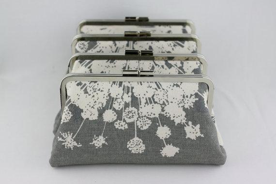 Mariage - Gray Blossom Bridesmaid Clutches / Wedding Purses / Floral Bridesmaid Purse Clutch - Set of 4
