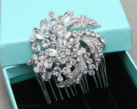 Свадьба - Crystal Rhinestone Wedding Bridal Dress Buckle Hair Buckle Flower Floral Leaf Leaves Hair Comb