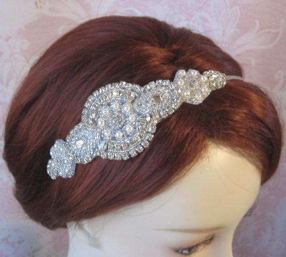 Mariage - Pearl and Rhinestone Headband, Bridal Headband, Crystal, Silver Art Deco Head Piece - ALEXANDRA