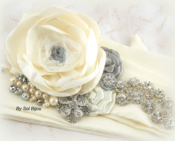 Свадьба - Bridal Sash, Wedding Sash in Ivory, Gray and Silver with Lace, Dupioni Silk, Pearls and Crystals- Exquisite