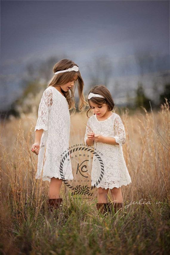 Mariage - flower girl dress ivory flower girl dress girls lace dress lace dress toddler lace dress boho flower girl dress flower girl dress lace