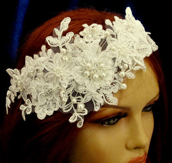 Wedding - Rhinestone Pearl Beaded Lace Bridal Headband Wedding Accessories Ivory Headpiece Silvery Beaded Hair Piece