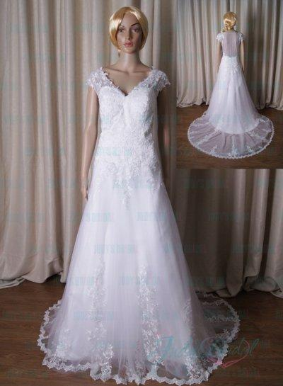 Boda - LJ192 sexy sheer tulle back lace tulle boho beach wedding dress