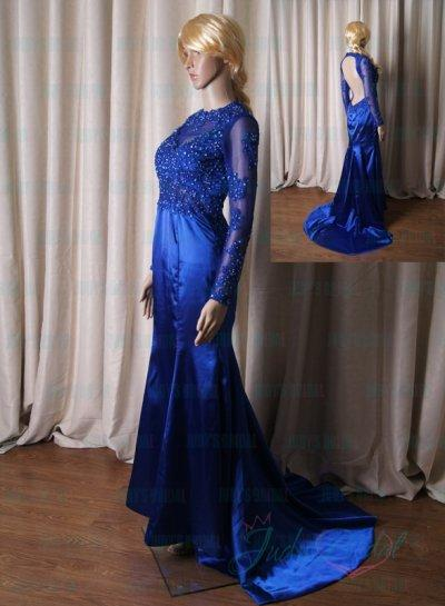 Wedding - LJ194 sexy open back royal blue lace mermaid celebrity prom dress