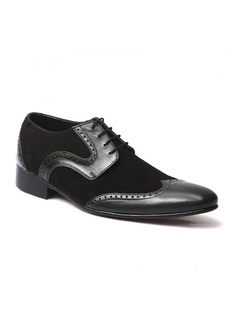زفاف - Mens Black Suede Leather Formal Lace up Shoes - Zapprix.com