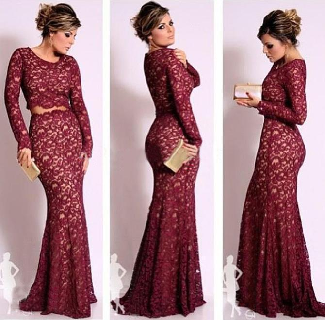 Sexy New Burgundy Long Sleeves Lace Mermaid Evening Dresses Sheer