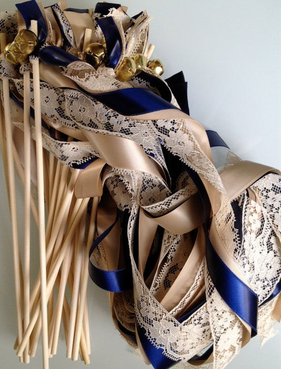 75 Wedding Wands Lace Ribbon Bells Streamers Birthday Party Gold ...