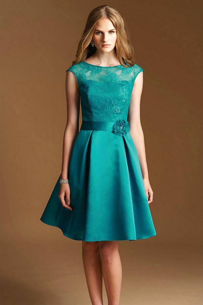 Hot Popular A Line Cheap Knee Length Short Bridesmaid Dresses Scoop Cap Sleeves For Party Dress