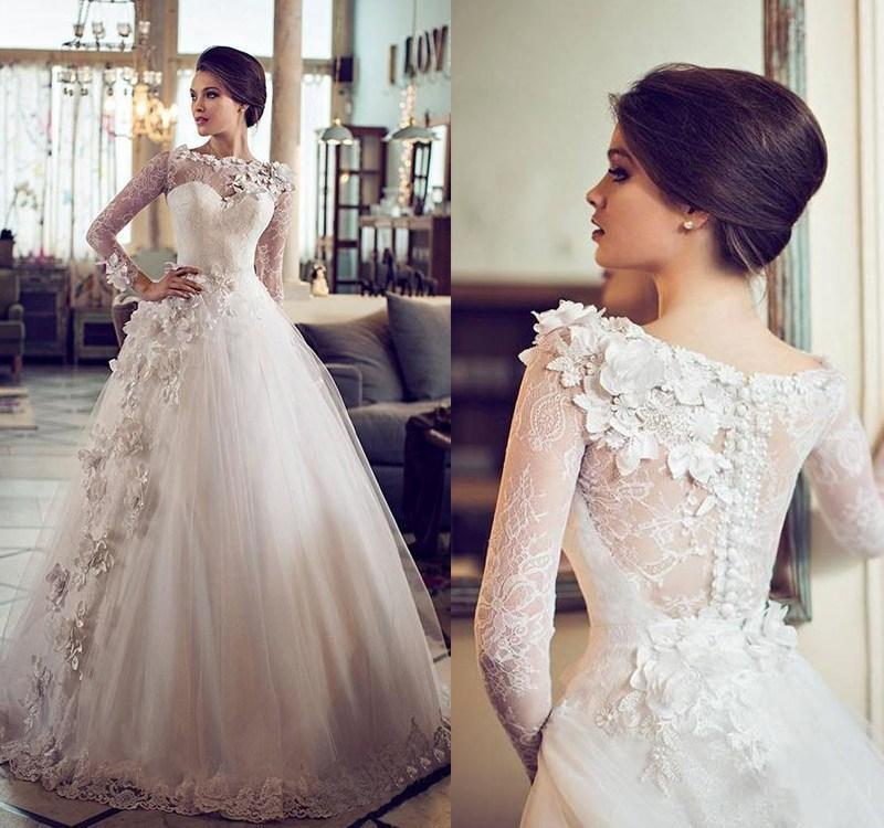 Bridal Gowns With Flowers : Custom vintage ball gown wedding dresses sheer bateau