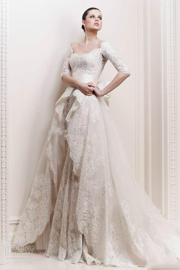 80a94020e4a 2014 Zuhair Murad Elbow Length Sleeves And Overskirt Wedding Dresses  Beautiful Stunning Bridal Dresses Online with  132.24 Piece on Hjklp88 s  Store