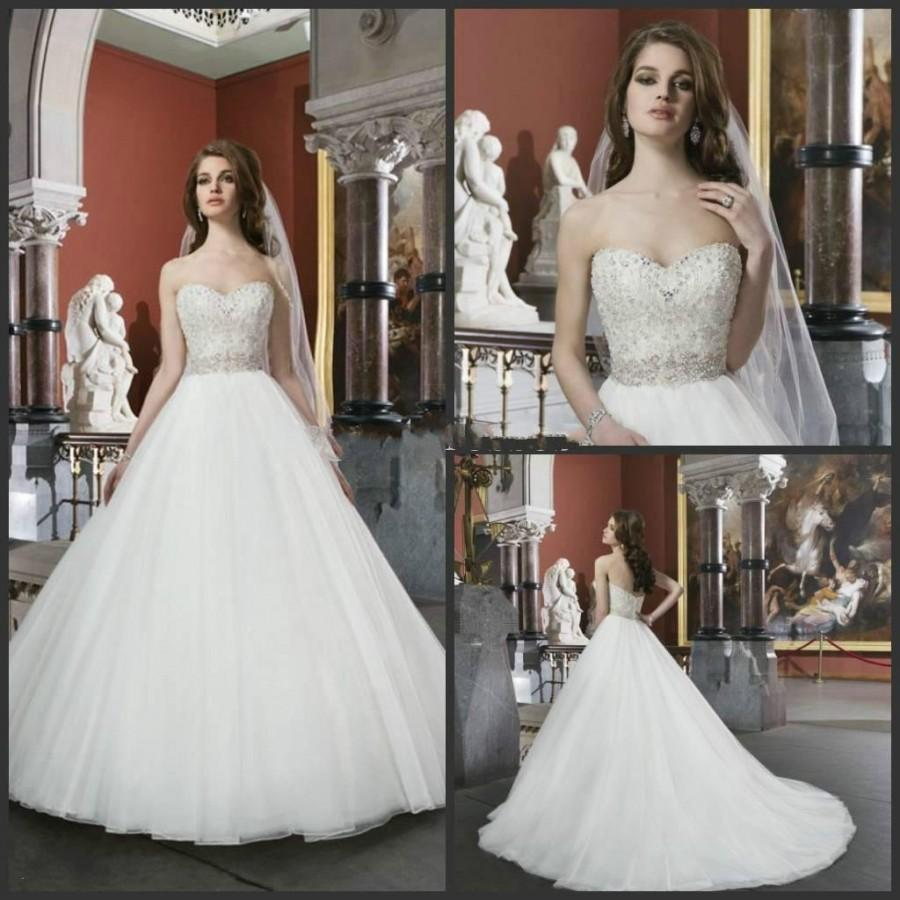 Modest 2014 elegant white ivory beaded bodice sweetheart for Elegant modest wedding dresses