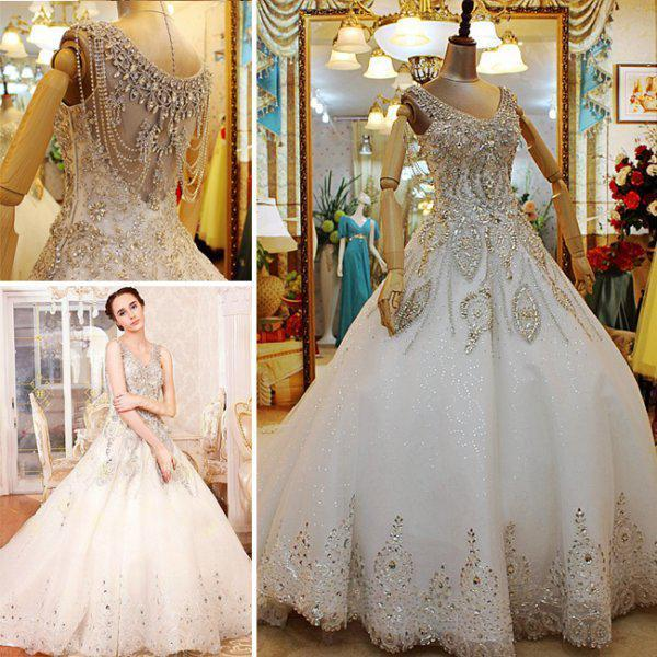 Custom Made 2017 Luxurious A Line Beaded Crystal V Neck Crewl Wedding Dresses Long Train Vintage Plus Size Brides Online With 362 03 Piece On Hjklp88 S