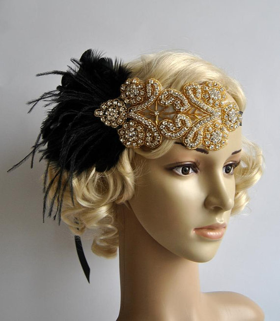 Gold Black Feather Flapper Gatsby Headband Wedding
