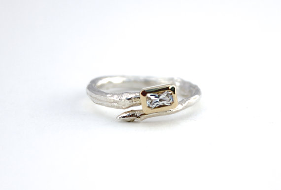 Свадьба - emerald cut white sapphire twig engagement ring . unique engagement ring . sterling silver branch ring peacesofindigo . ready to ship size 8