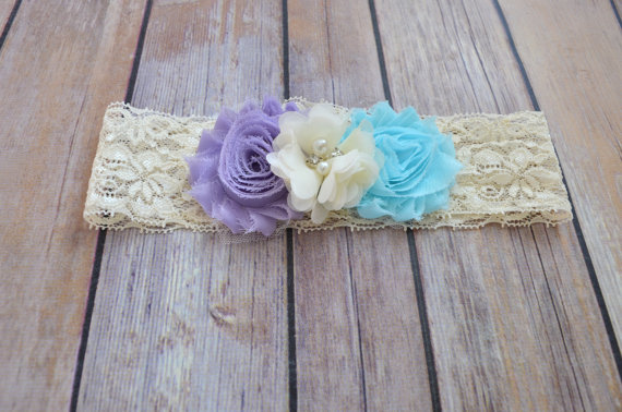 Mariage - Lavender Aqua Blue Flower Lace Headband, Toddler Lace headband, Girls, Adult , headband, Flower girl headband, Wedding headpiece